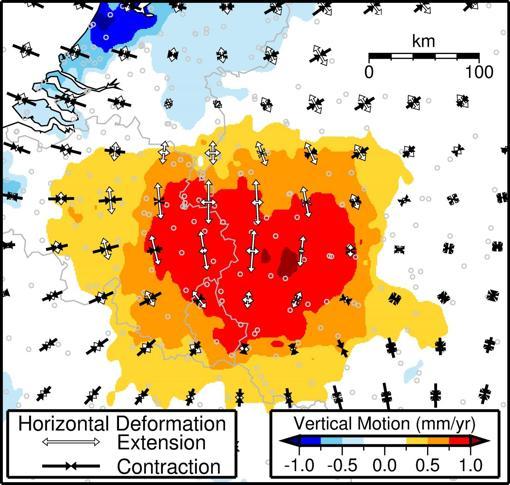 Observaciones GPS del movimiento del suelo bajo el área de Eifel. Los colores representan el movimiento vertical inferido de los datos de GPS, y las flechas blancas y negras indican la dirección en la que la corteza se estira o comprime horizontalmente, respectivamente. El movimiento ascendente más alto de ~ 1 mm por año se encuentra cerca del campo volcánico de Eifel