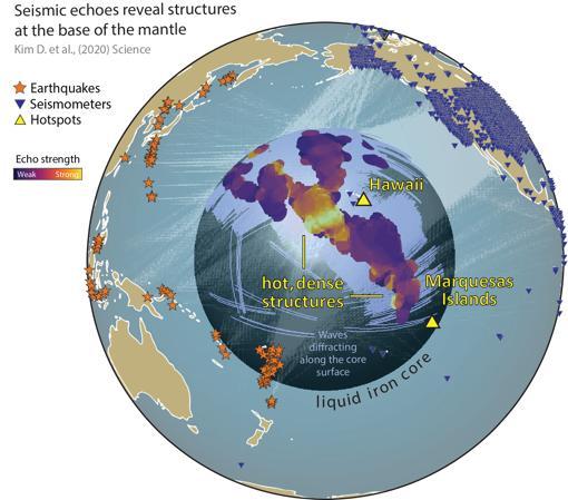 El gráfico muestra la enorme estructura encontrada junto al núcelo terrestrey justo debajo de las islas Hawaii.