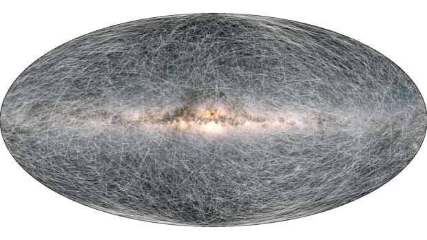 El mapa muestra el movimiento de las estrellas en la Vía Láctea en los próximos 1,6 millones de años
