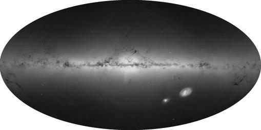 Las regiones más brillantes indican concentraciones más densas de estrellas, mientras que las regiones más oscuras corresponden a parches del cielo donde se observan menos estrellas. Esta vista muestra la distribución de todas las estrellas, incluidas las débiles y distantes