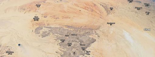 Vista satélite de parte de las montañas Tibesti
