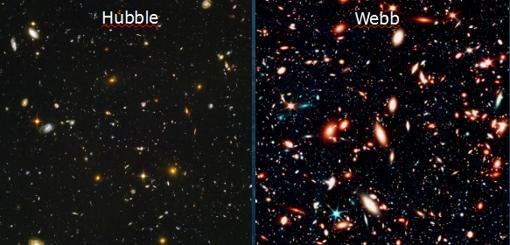 Otro ejemplo de cómo se vería la icónica imagen del espacio profundo del Hubble (izda.) y cómo la observaría el telescopio Webb (dcha.)