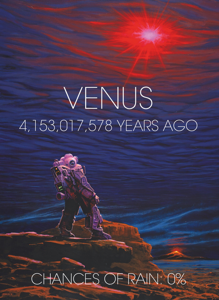 An artist's view of the surface and atmosphere of Venus early, more than 4 billion years ago.  In the foreground, a mysterious explorer is surprised to see the oceans completely vaporized in the sky
