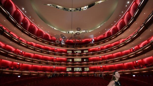 Vista del interior de la nueva ópera nacional de Atenas