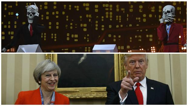 Arriba, detalle de la actuación de Katy Perry; abajo, May y Trump, juntos en la Casa Blanca