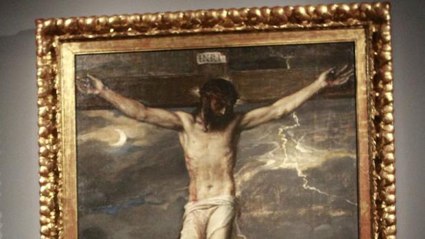 Detalle de «Cristo Crucificado», de Tiziano, cuando estuvo expuesto en las salas del Thyssen el año pasado