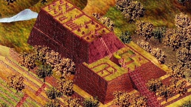 Imagen recreada del interior de la pirámide de Gunung Padang