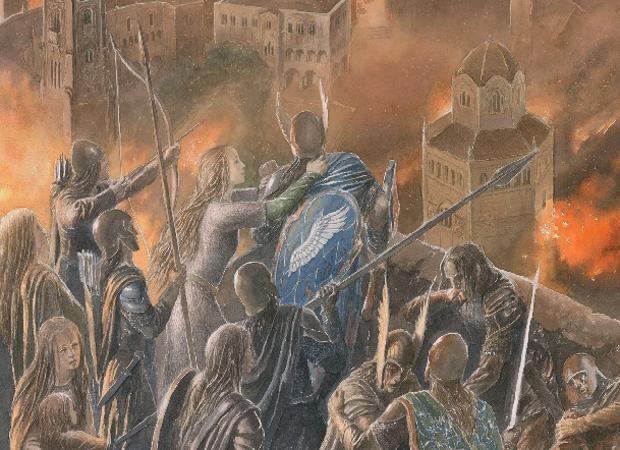 Detalle de una ilustración de Alan Lee para «La caída de Gondolin»