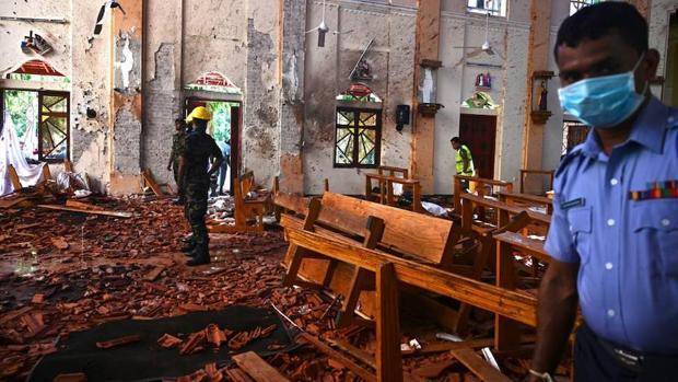 Una de las iglesias cristianas, tras los atentados de Sri Lanka el pasado 21 de abril