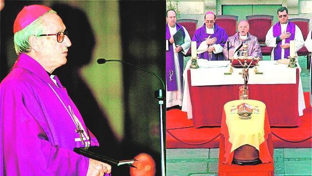 La actitud de monseñor Setién (a la izquierda) contrastó con la de los capellanes castrenses