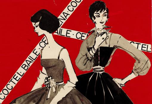 «Un traje de vestir». Detalle de ilustración de Coti, publicada en Blanco y Negro el 21 de diciembre de 1957