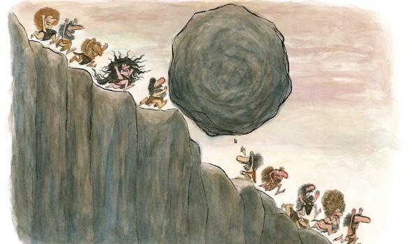 «Antes, cuando no había colegio también se diferenciaban los de ciencias y los de letras». Ilustración de «Antes, cuando no había colegio» (Edelvives) de André Bouchard