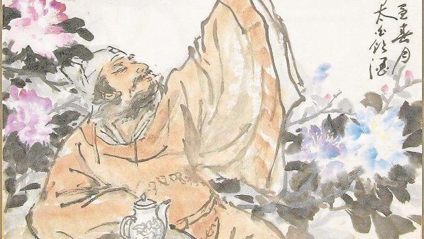 Dibujo tradicional sobre el poema de Li Bai, brindando con la Luna y su sombra