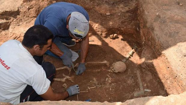 Detalle de la excavación en Mavropigi (Grecia)