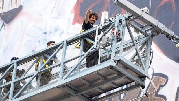 Domingo Zapata, desde el andamio donde trabaja