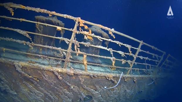 Captura del vídeo difundido ayer por Reuters con la imagen actual del Titanic, a casi cuatro kilómetros de profundidad