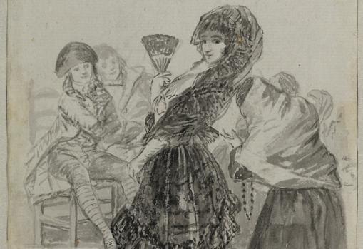 """""""Dios la perdone. Y era su madre"""". Detalle de un dibujo de Goya (1796-97), que perteneció a Valentín Carderera"""