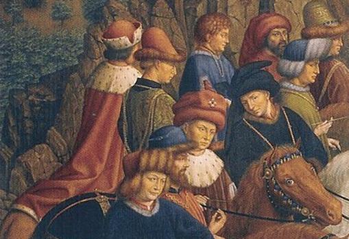 Detalle de «Los jueces justos», panel robado en 1934 del políptico de la «Adoración del Cordero Místico», tesoro de la Catedral de San Bavón de Gante