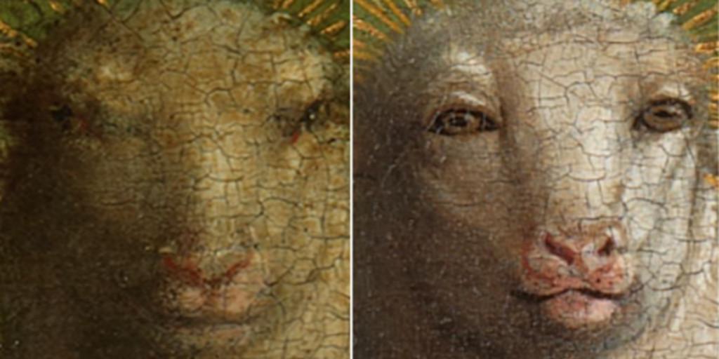 La restauración del cuadro «más robado de la historia» sorprende por la humanización del cordero de Dios