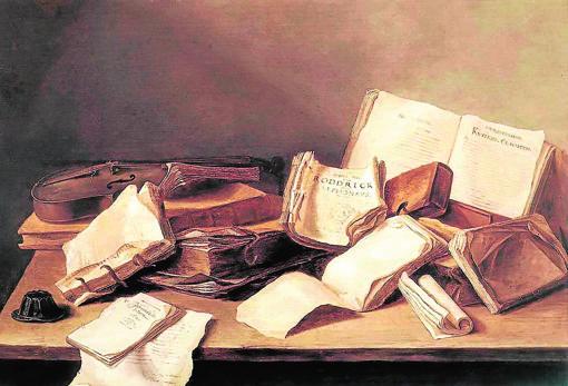 El pintor Jan Davidsz de Heem muestra en «Naturaleza muerta con libros» la carcoma de unos volúmenes abandonados sobre una mesa