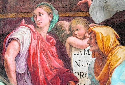 Detalle del fresco «Sibilas y ángeles»