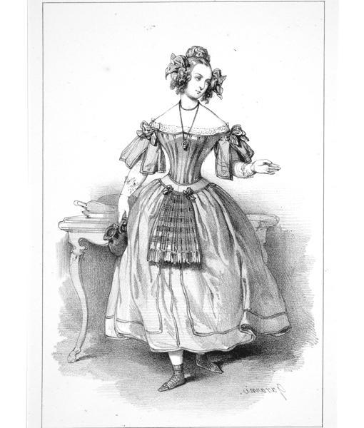 Litografía de Gavarni de Jenny Colon caracterizada como Silvia para la obra «Piquillo», de Nerval