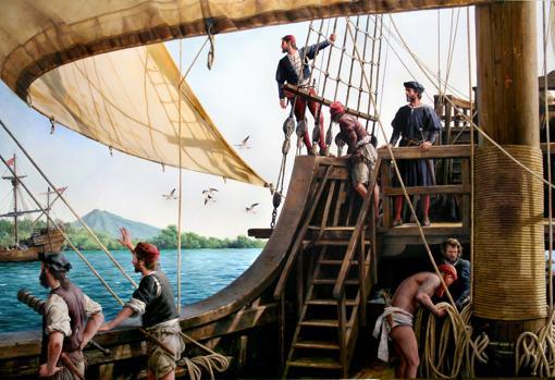 El cuadro sobre Elcano, del Museo Naval de Madrid
