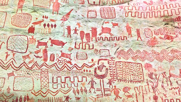 Pinturas rupestres de Cerro Azul, formación de la Serranía de la Lindosa, descubiertos en años anteriores