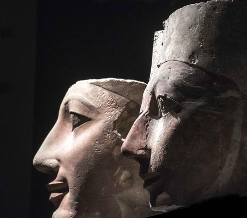 heads Hatshepsut and Tuthmosis
