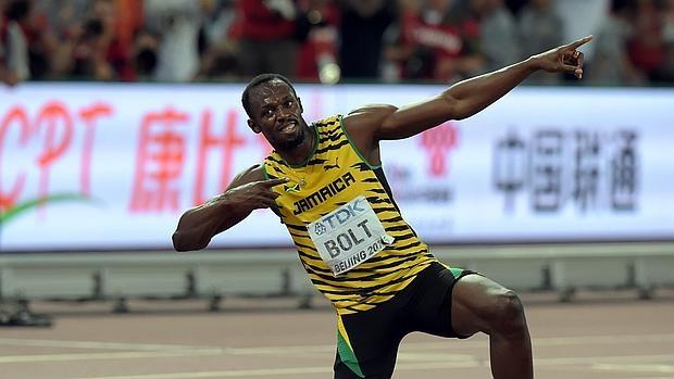 Usain Bolt celebra una victoria en los Mundiales de Pekín