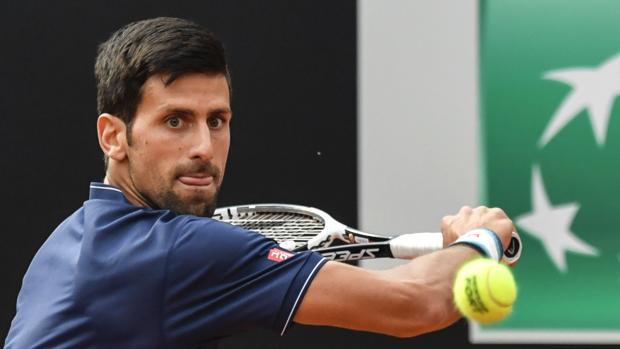 Novak Djokovic durante su primer partido en el Masters 1.000 de Roma