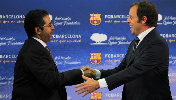 Rosell durante la presentación del acuerdo con Qatar
