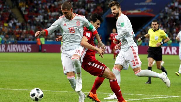 España, durante el partido contra Irán en el Mundial de Rusia 2018