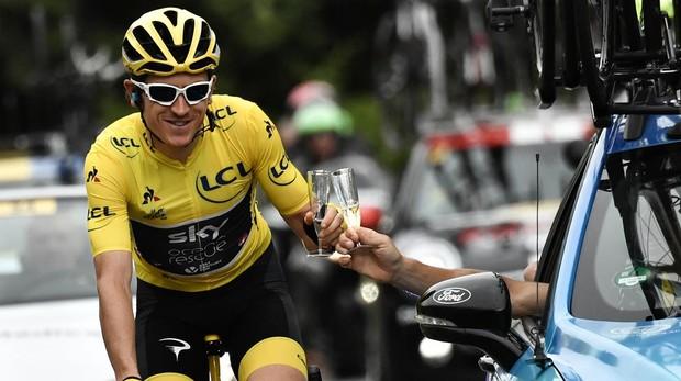 Geraint Thomas en París durante la última etapa del Tour de Francia, como campeón