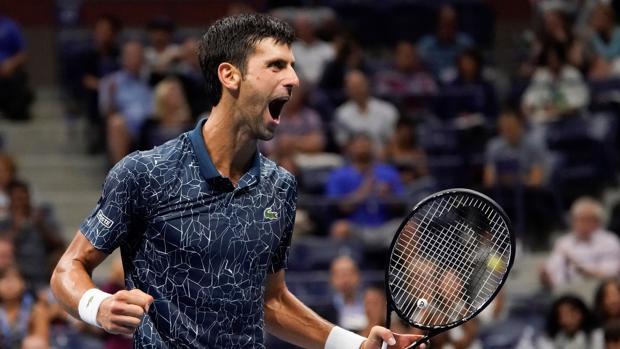 Djokovic celebra el pase a la final del Abierto de Estados Unidos