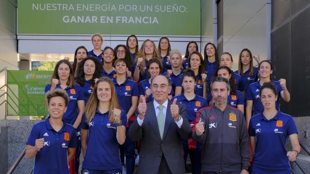 La selección española de fútbol, con Galán
