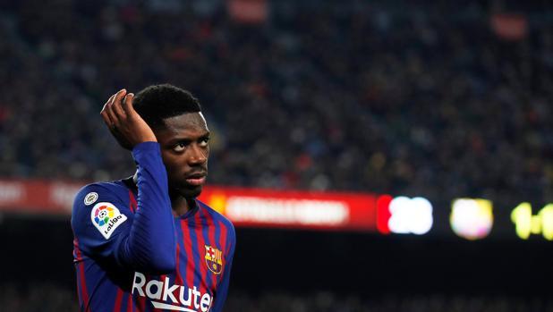 Dembélé durante un partido del Barcelona