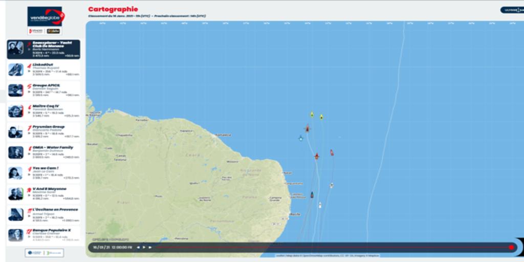 Mientras la flota Vendée Globe asciende, el trimarán «Gitana 17» desciende el Atlantico
