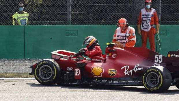 El monoplaza de Sainz, destrozado tras el accidente