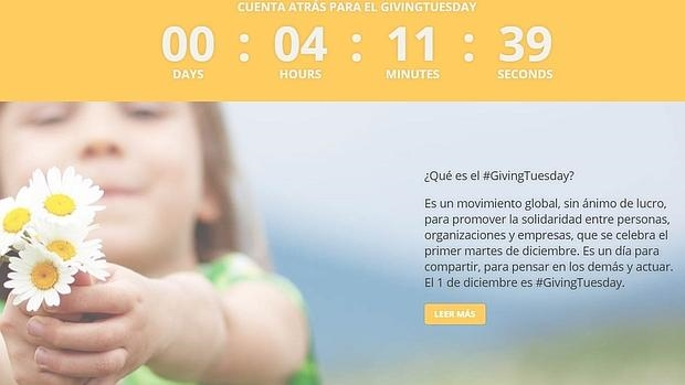 Captura de pantalla de la web de «Giving Tuesday» en España