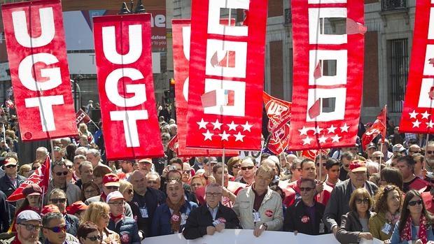UGT y Comisiones Obreras en la manifestación del 1 de mayo