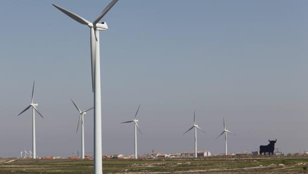 Parque eólico en la localidad de La Muela, en Zaragoza