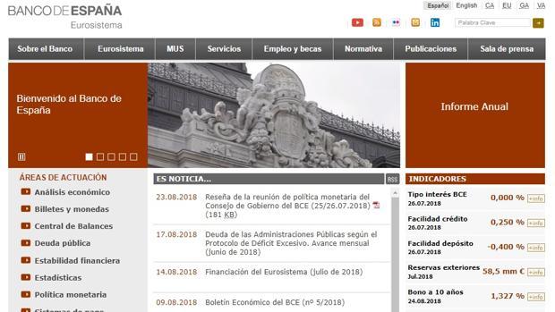 Captura de pantalla de la página web del Banco de España