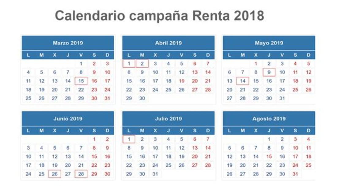 Aeat Calendario Fiscal 2019.Este Es El Calendario De La Declaracion De La Renta 2018 2019