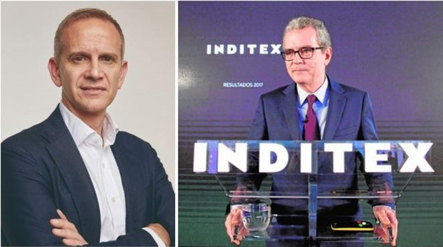 El nuevo consejero delegado de Inditex, Carlos Crespo (i) y el presidente de Inditex, Pablo Isla (d)