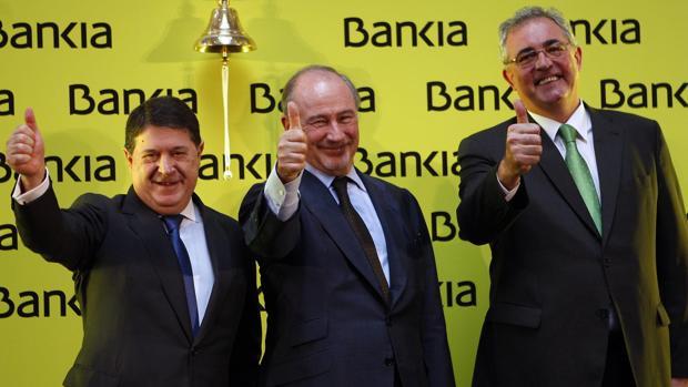 Rodrigo Rato, en la salida a bolsa de Bankia, en 2011