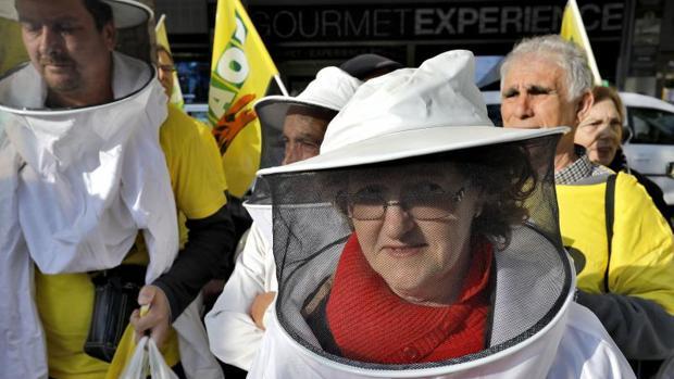 Concentración de apicultores el año pasado en defensa d ela miel española