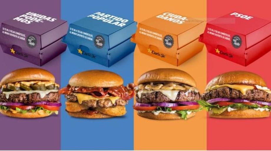 Una cadena de restauración saca una línea de hamburguesas asociadas a cada partido político