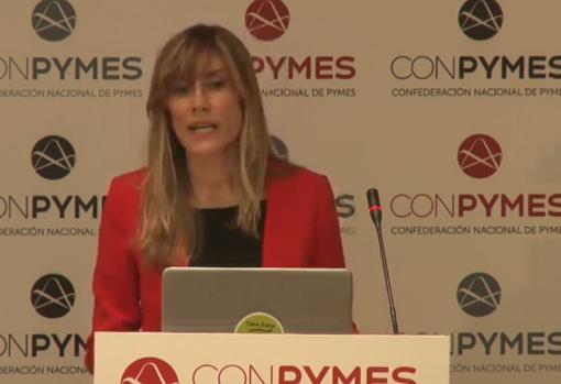 Begoña Gómez, during her brief speech