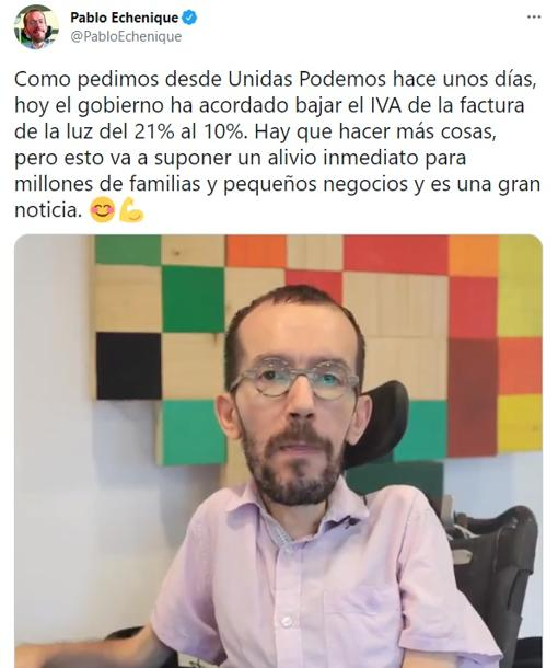Pablo Echenique celebrates the reduction of VAT on electricity on his Twitter account